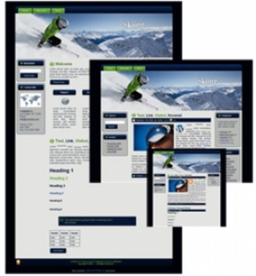 Product picture Skiing Blogger HTML WP Theme with MRR